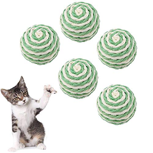 HEEPDD 5 Stücke Katze Ball Spielzeug, Katze Kätzchen Sisal Kratzbälle Handgemachte Umweltfreundliche Kätzchen Spielzeug Bälle für Katzen Hunde Welpen Kitty Kitten Haustiere Neuheit Geschenk
