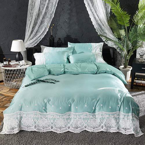 RONGXIE Zijde kant Beddengoed set King Queen Size 4 Stks Royal Palace Bed Set Dekbedovertrek Bed Sheet Kussenslopen