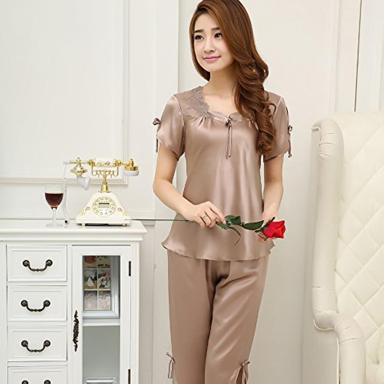 YMS-AI Damen Nachtwäsche_Seide Pyjama Kurzarm Sommer 100% Seide Zwei Stück - Frühling Karte Seiner grau, M B07D3S221F  Leicht zu reinigende Oberfläche