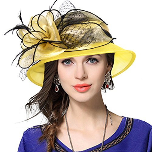 VECRY Lady Derby Dress Church Cloche Hat Bow Bucket Wedding Bowler Hats (Two-Tone-Yellow)