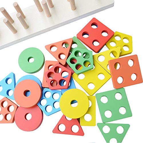 Toyshine Wooden Angle Geometric Blocks Stacker Shape Sorter Column Puzzle Stacking Set for Kids- B