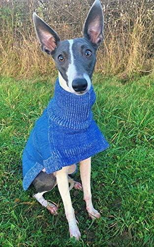 Denim Knitted Greyhound Lurcher Jumper//Sweater//Coat//Fleece 25 XS Greyhound, Blue Denim//Blue Brindle