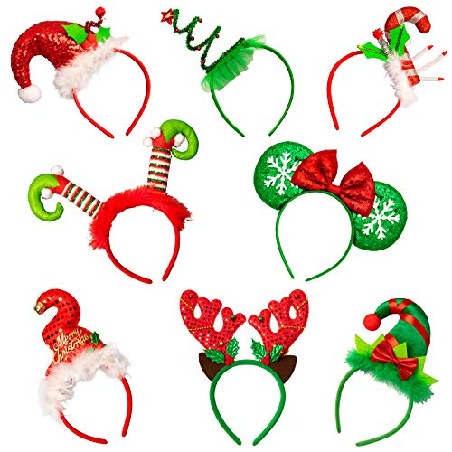 Whaline Christmas Headbands 8Pcs Xmas Tree Reindeer Antler Mickey Elf Head Hat Toppers Flexible Red Green Holiday hair Hoops for Christmas Holiday Party Photo Booth Favors Kids Adults