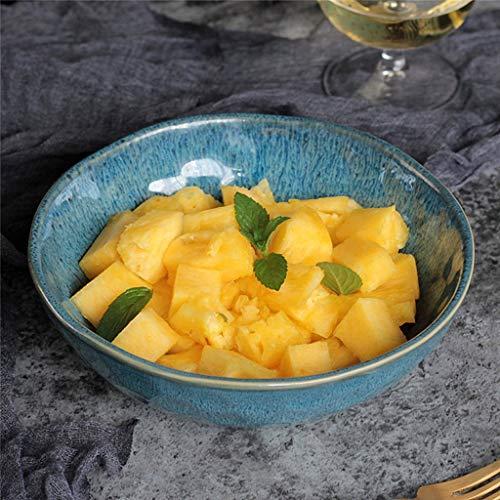 Mzxun Cerámica pintada a mano de vajilla azul pavo real del filete del plato de ensalada de fruta Postre Sopa Tazón bandeja utensilios for comer 18x5.7cm
