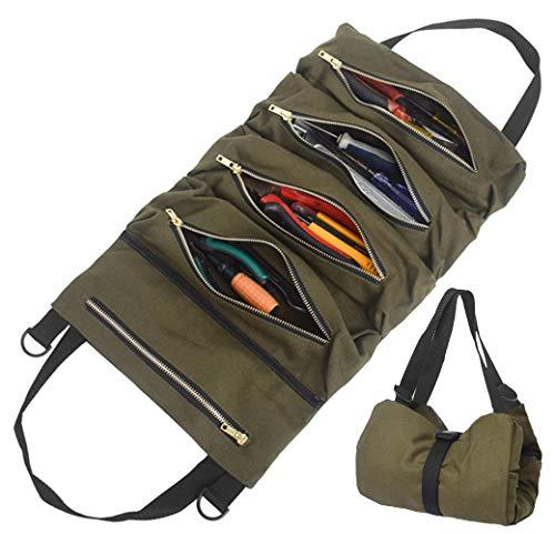 Roll Werkzeugtasche aus Segeltuch mit 5 Reißverschlusstaschen | Rolltasche Auto Organizer Tool Roll | Tragbare Reißverschlusstasche Werkzeugroll für Elektriker Klempner Zimmermann oder Mechaniker