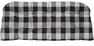 "RSH Décor Indoor Outdoor Tufted Cushion for Wicker Loveseat Settee Bench Black Buffalo Plaid 41"" L x 19"" D"