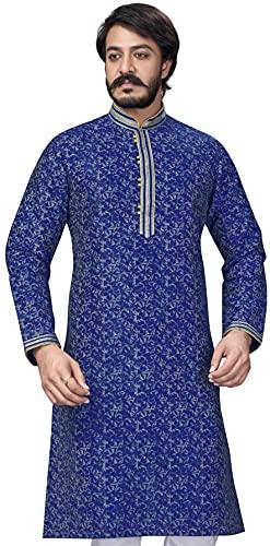 Akhanddeep Men's Designer Printed Long Sleeve Cotton Silk Kurta