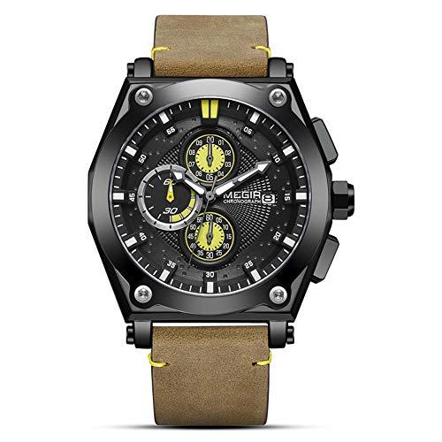 YIBOKANG Moda Moda Deportes Gran Dial Multifunción Diferaciones De Tiempo De Quych Watch Casual Business Impermeable Night Light Beld Cinturón De Cuero Reloj De Regalo (Color : 4)