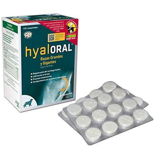 Hyaloral para Perros de Razas Grandes y Gigantes 120 comp | Suplemento Nutricional para el dolor de Caderas, Articulaciones y Cartílagos | Complemento Vitamínico para fortalecer Tendones y Ligamentos