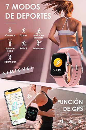 AIMIUVEI Smartwatch, Reloj Inteligente IP67 con Pulsómetro, Presión Arterial, 7 Modos de Deportes y GPS, Monitor de… 6