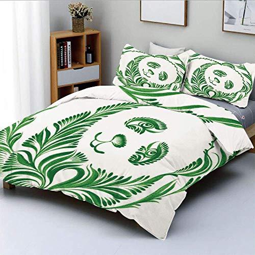 Juego de funda nórdica, azulejo de cerámica de arte popular ucraniano inspirado en el oso panda con ilustración de follaje decorativo Juego de cama de 3 piezas con 2 fundas de almohada, verde cazador,