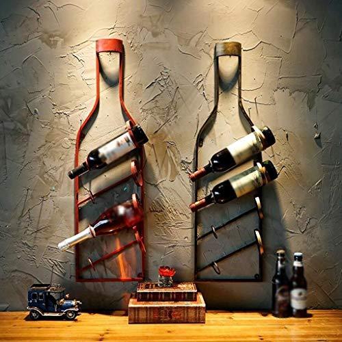 Escultura de escritorio Estante de vino retro europeo Decoración de botella de vino de hierro retro Decoraciones de pared (Color : B)