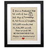 Corfara Framed 1st Anniversary Burlap Print 11' W X 13' H, 1 Year As Husband & Wife, Gifts for Couples 1st Anniversary, First Anniversary for Husband Wife Unique 1st Wedding Anniversary