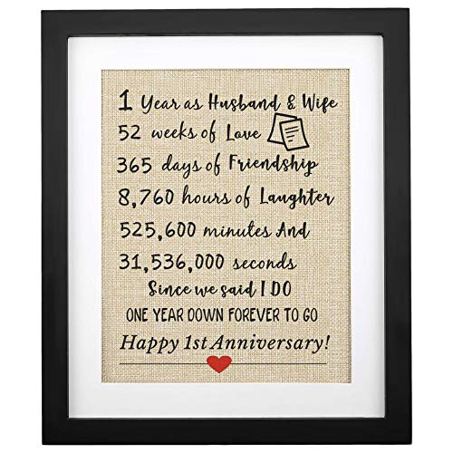 """Corfara Framed 1st Anniversary Burlap Print 11"""" W X 13"""" H, 1 Year As Husband & Wife, Gifts for Couples 1st Anniversary, First Anniversary for Husband Wife Unique 1st Wedding Anniversary"""