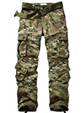 AKARMY Men's Ripstop Wild Cargo Pants, Military Army Camo Casual Work Combat Trousers with 8 Pockets 3355 CP Camo 38