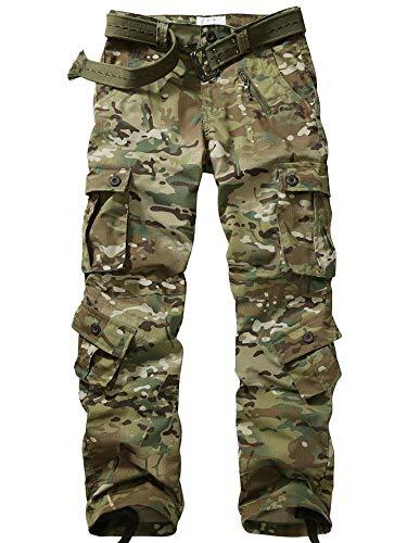 TRGPSG Pantalones de Senderismo Ligeros para Hombre Pantalones de Carga Salvaje Ripstop al Aire Libre Pantalones de Trabajo Casuales de Camuflaje Militar con múltiples Bolsillos