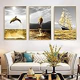 SNGTOW Póster retro dorado del paisaje de la costa, barco de pescado, paisaje marino nórdico, lienzo de la pintura de la pared para la decoración moderna del hogar, 40 x 60 cm x 3 sin marco