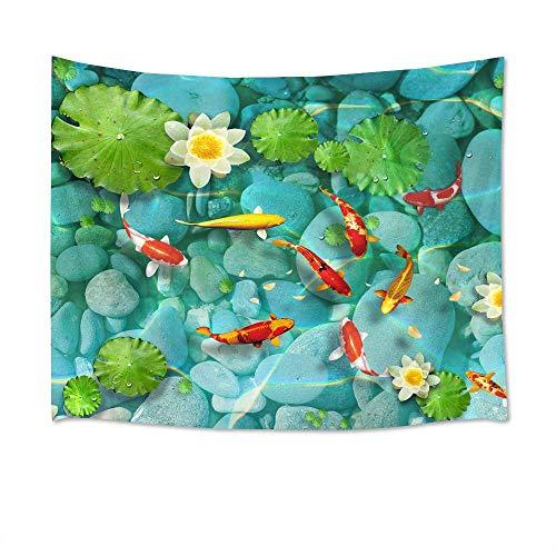 N\A Tapiz de Pescado Carpa Japonesa en Lotus Pond Tapices de Flores y Hojas Verdes Tapices para Dormitorio Sala de Estar Dormitorio Decoración de Fiesta