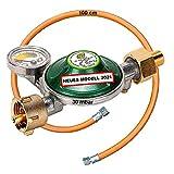 CAGO Gasregler 30 mbar Camping Druckminderer Druckregler mit 360°-Manometer Gas Füllstandsanzeige Schlauchbruchsicherung Schlauch 80cm für Gasflasche Gasgrill Butan