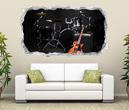3D Wandtattoo Musik Schlagzeug Gitarre Bühne Wand Aufkleber Durchbruch Stein selbstklebend Wandbild Wandsticker 11N506, Wandbild Größe F:ca. 140cmx82cm