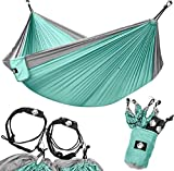Legit Camping - Double Hammock - Lightweight Parachute Portable Hammocks for Hiking , Travel , Backpacking , Beach , Yard . Gear Includes Nylon Straps & Steel Carabiners (Graphite/Seagreen)