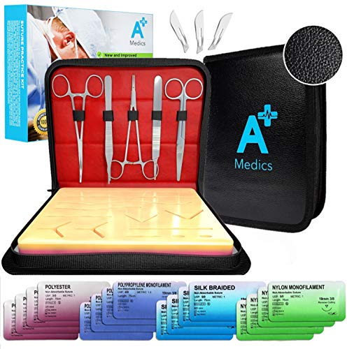 Complete Suture Practice Kit for Medical Students w/ How-To Suture HD Video Course, Suture Training Manual & Carryall Case. All-in-One A Plus Medics kit incl. suture practice pad. (Education Use Only)