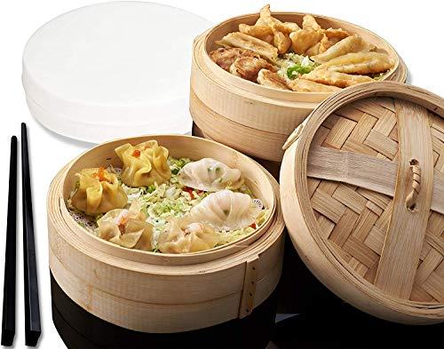 Bamboo Steamer Basket - 10 INCH Bamboo Steamer - Dumpling Steamer 100% Natural Bamboo Handmade Vegetable, Dim Sum, Asian Steamer Bamboo Basket - Healthy Cooking - 2 Tier, Lid, 50 Liners, Chopsticks