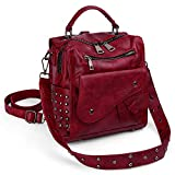 UTO Women Studded Backpack Purse PU Leather Convertible Ladies Rucksack Zipper Pocket Crossbody Shoulder Bag Red