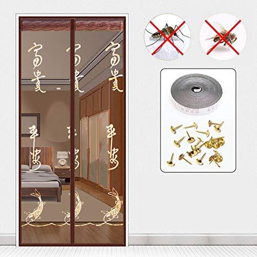 SONLI Magnetische Bildschirmtür Automatisch Vernetzte Vorhangfliegen-Insektentüren Anti-Moskito-Passungen Mit Vollrahmenhaken,D-120 * 220cm