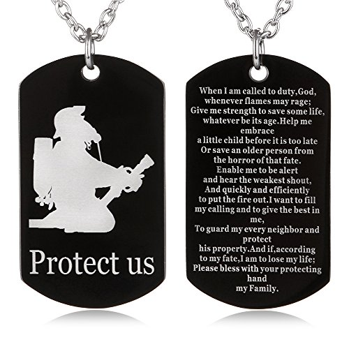 FAYERXL Catholic Gifts Firefighter's Prayer Protect us Dog Tag Necklace Military Fireman Protection Pendant Men Dad Gift