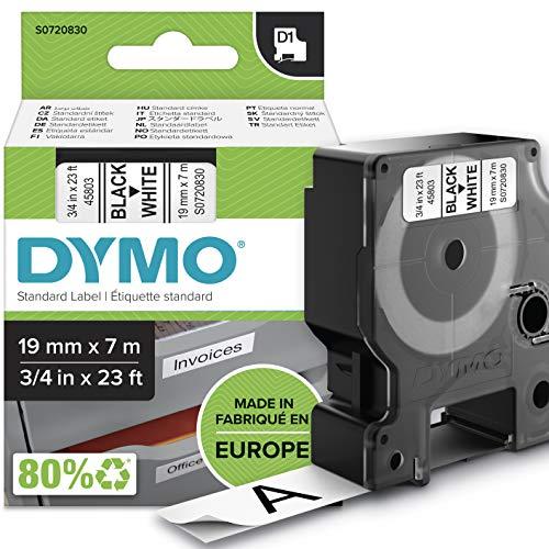 DYMO D1-Etikettenband Authentisch | schwarzer Druck auf weißem Untergrund | 19mm x 7m | selbstklebendes Schriftband | für LabelManager-Beschriftungsgerät