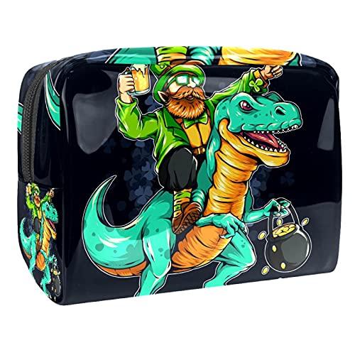 Multifunzione Beauty Case da Viaggio Dinosauro e uomo Travel Bag Cosmetici Trucco Sacchetto Pigro Grande capacità Trucco Borsa di Make-up Borse per Donne 18.5x7.5x13cm