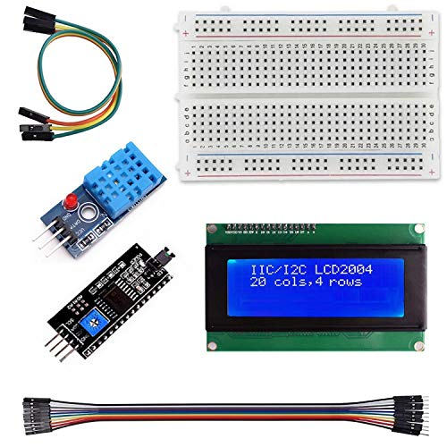 Qootec Estación Meteorológica DIY DHT11 Sensor Temperatura Humedad LCD 2004 I2C Interface Electronic Projects