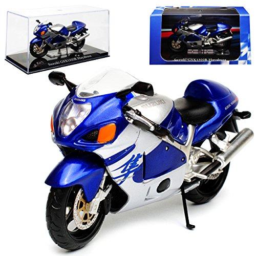 Atlas Suzuki GSX1300R Hayabusa Blau Silber mit Sockel und Vitrine 1/24 Modell Motorrad