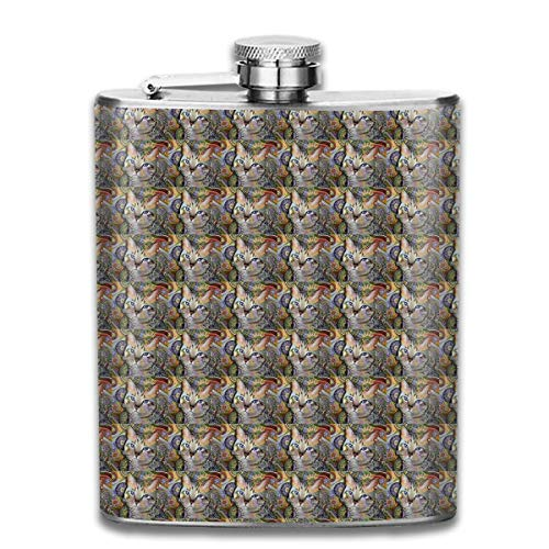 iuitt7rtree Abstract Cat Art Mugs Pocket Leak Proof Liquor Hip Flask Alcohol Flagon 304 Stainless Steel 7OZ Gift Box Outdoor
