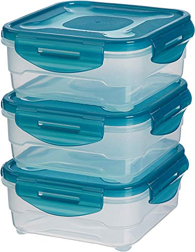 AmazonBasics 6pc Airtight Food Storage Containers Set, 3 x 0.8 Liter