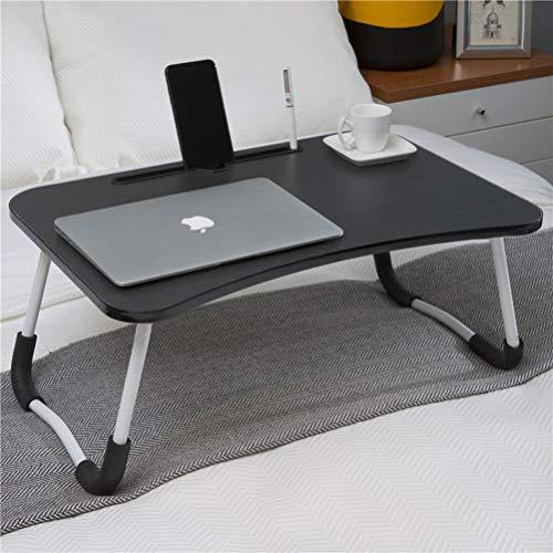 Wooden-Life Table de lit pliable pour ordinateur portable - Support pour ordinateur portable pour petit déjeuner, ordinateur portable, livres, mini plateau de lit - 60 x 40 cm (noir)