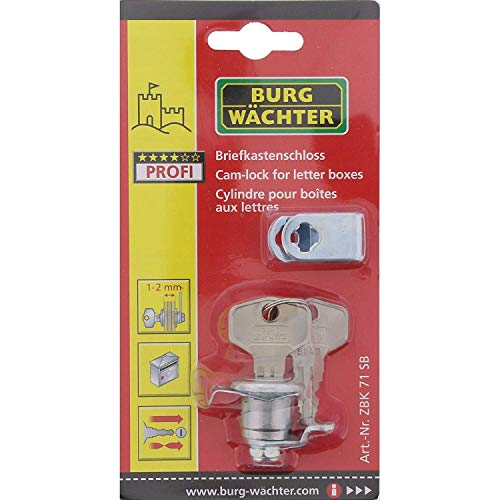 Burg-Wächter Ersatzzylinder für Briefkästen, Hebelschloss, Für Materialstärke von 1 bis 2 mm, verchromt, ZBK 71 SB, silber