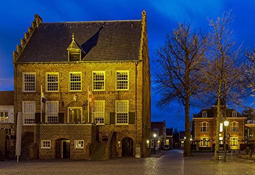 Nederland Oirschot Straatverlichting Bomen Steden Gebouw Volwassen puzzel kinderen 1000 stukjes houten puzzelspel cadeau woondecoratie speciaal reissouvenir