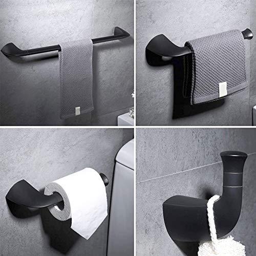 NEWRAIN Toallero 4 Piezas Set de Accesorios de baño 64CM Latón Toallero Baño Anillo de Toalla Montaje en Pared Sujetador de Papel Toallero de Inodoro Gancho para Bata Negro