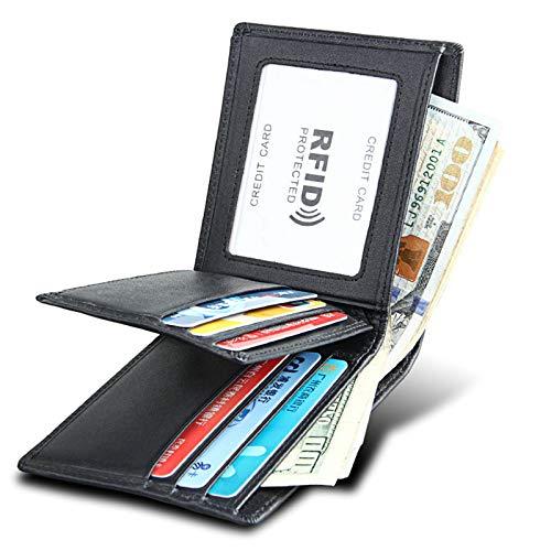 Anyeda Echtes Leder Herren Brieftasche Bifold Geldbörse Rfid Schutz Schwarz Geldbeutel Rfid Herren 11x9.5x1.8CM