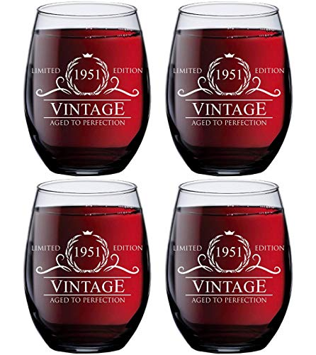 70th Birthday Gift Ideas for Women Men - 1951 Vintage 15 oz Stemless Wine Glasses (SET OF 4) - 1951 Birthday Gifts for Women Men - Gifts for 70 Year Old Woman Man - 70th Class Reunion Party Favors Cup