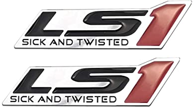 Decalship 2 Pack Chrome Red LS1 Sick and Twisted Engine Emblems 3D Badge Stickers Replacement for Gm Chevy Chevrolet Silverado