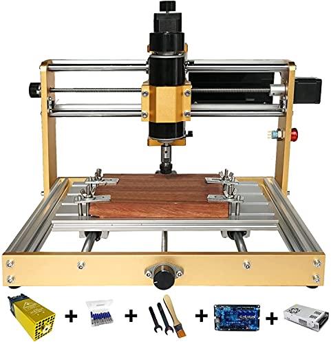 Kit de enrutador CNC, todo metal 3018 Plus, talladora y fresadora con interruptor de límite y parada de emergencia, área de trabajo XYZ: 300 x 180 x 60 mm (500W + 30W Set)