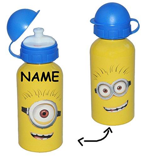 Alu Trinkflasche Minion / Minions - incl. Namen - aus Aluminium 400 ml - Kinder Flasche für Mädchen Jungen - Aluflasche Fahrradflasche 0,4 l - ich einfach unverbesserlich 2