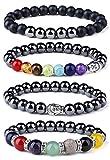 LOYALLOOK 4Pcs Chakra Hematite Bracelet Healing Magnetic Therapy Stretch Stone Beaded Bracelet Balancing