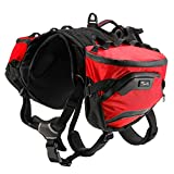 Pettom Dog Hiking Harness Backpack Pet Adjustable Removable Saddle Bag Waterproof Walking Camping Packs for Medium Large Dogs (Medium, Red)