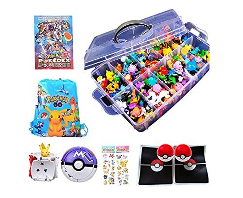 Juego de batalla de Pokémon,  144 figuras de Pokemon + 1 caja de almacenamiento+ 1 libros ilustrados+2 bolas de Pokémon explosión+2 alfombrillas de batalla+1 bolsa de almacenamiento