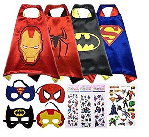 Anping Reversible Comics Cartoon Hero Dress up Superhero Costume Satin Capes with Felt Mask -4 Costume Sets for Kids with Bonus Stickers and Tattoo