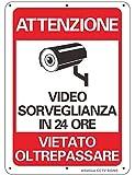 """AlfaView Cartelli Segnali Videosorveglianza, 10""""x 7"""" Alluminio UV Protetto e Impermeabile Nessun Metallo Trasgredicente Segnale di Sicurezza Riflettente di Sicurezza per Casa d'affari"""